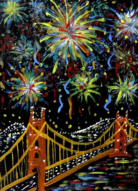 san francisco fireworks golden gate bridge painting