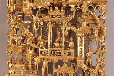 lot  chinese carved gilded wood panel