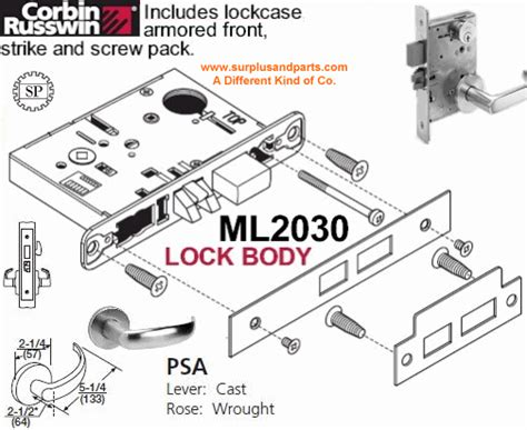 Corbin Russwin Templates by Corbin Russwin Ml2030 Psa 626 New Lh Mortise Lockset