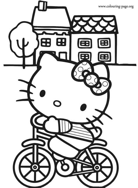 kitty  kitty riding  bike coloring page