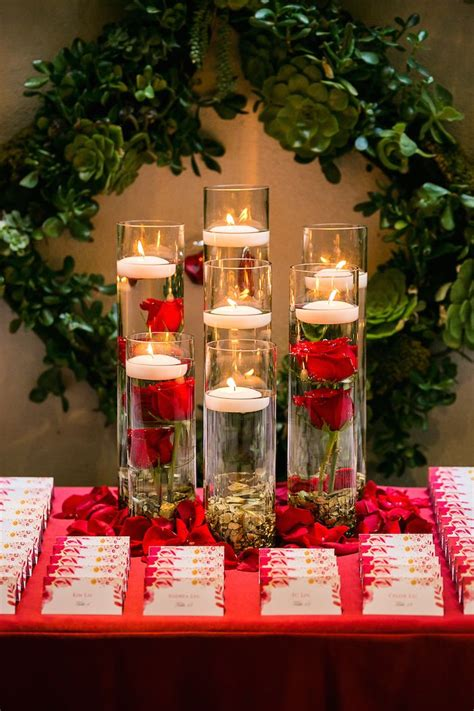 romantic wedding filled  red roses  gold details