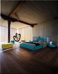 interesting modern interior design ideas Rustic Modern Aqua Bedroom Idea by Roche Bobois