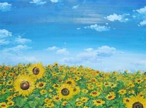 Sunflowers Field with Blue Sky Acrylic Painting on Canvas