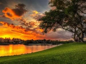 beautiful sunset clouds villa lake coast green meadow