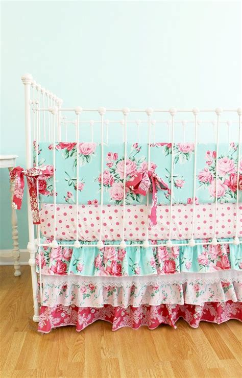 shabby chic bedding nursery pink and blue roses baby girl crib bedding shabby chic baby bedding with ruffle crib skirt