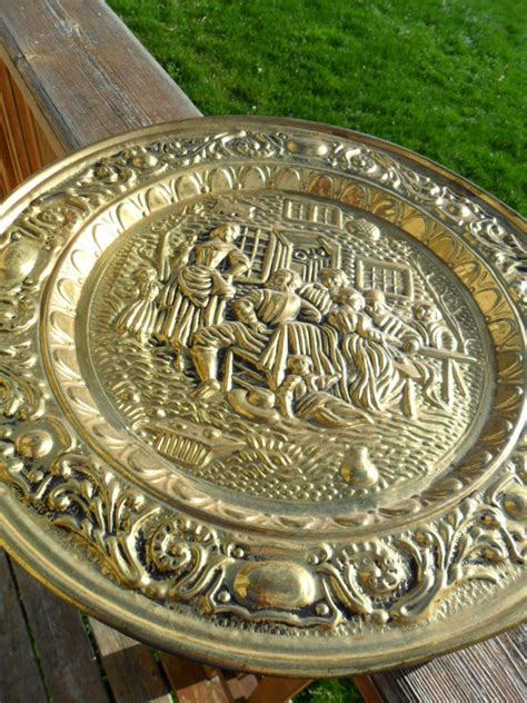 vintage brass plate wall hanging   england large