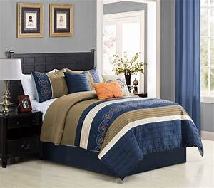 Wpm, 7, Piece, Bedding, Set, Navy, Blue, Beige, Taupe, Comforter, With, Accent, Pillows, Bed, In, A, Bag