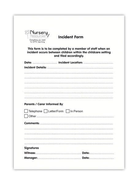 incident forms kids pinterest early years
