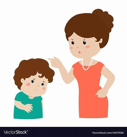 Mother Cartoon Son Scolding Child Clipart Character