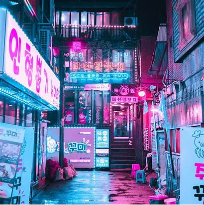 Neon Cyberpunk Street Aesthetic Retro Seoul Korea