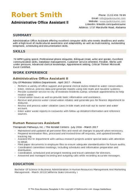 Office Assistant Resume by Administrative Office Assistant Resume Sles Qwikresume