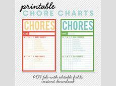Printable Chore Charts Editable PDF