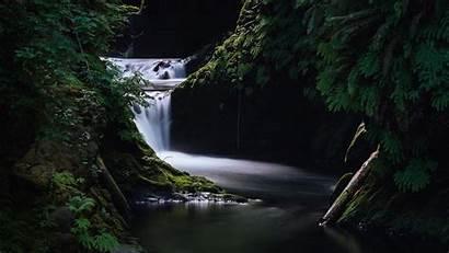 Nature Dark Wallpapers Waterfall Grass Desktop Background