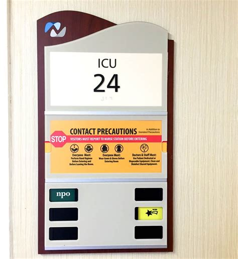 hospital door signs patient precaution innerface architectural signage