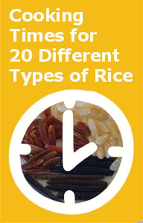 stove top cooking times  rice chart    types  rice