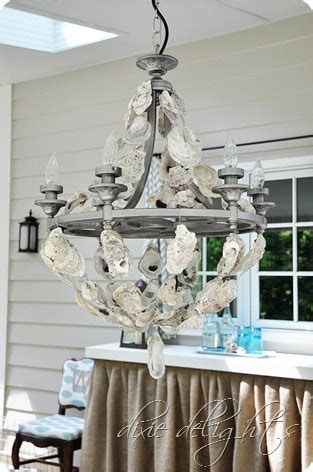 oyster shell chandelier porch projects dixie delights