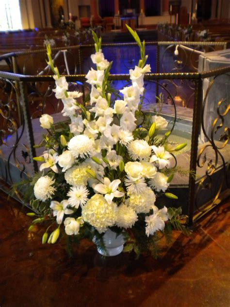 wedding flowers baptism font arrangement altar