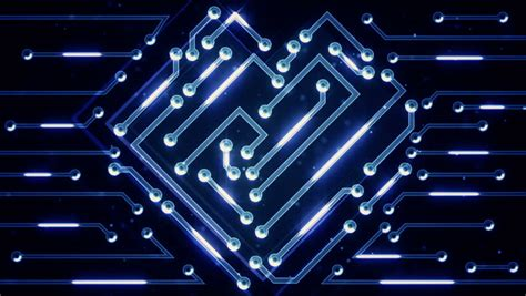 Growing Circuit Board Blue With Light Rays Technology