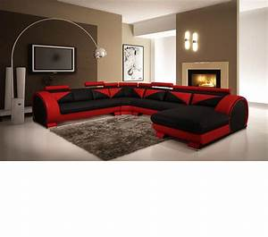 dreamfurniturecom modern red and black leather With sectional sofas red and black