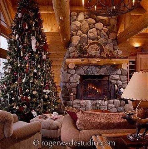 christmas fireplace pictures   rustic log home