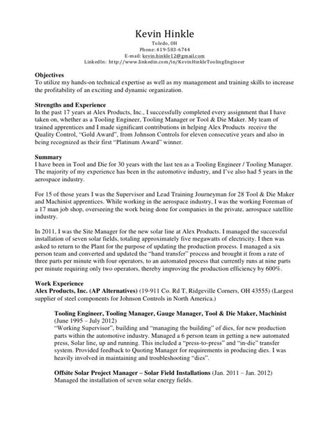 Manual Machinist Resume Exles by Kevin Hinkle Resume