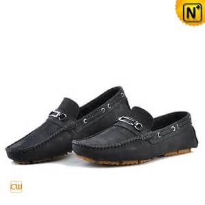 Black Leather Driving Loafers Men