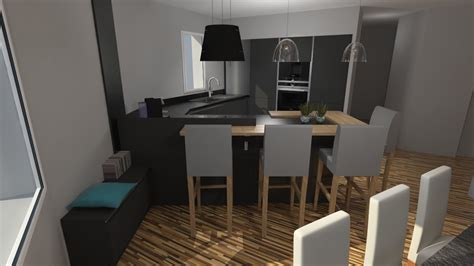cuisiniste barentin cuisine moderne gris anthracite mat et bois massif