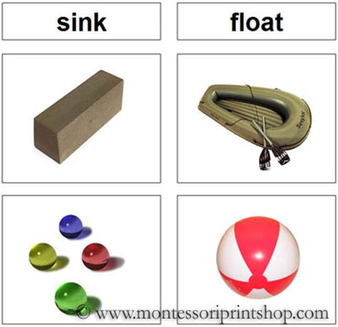 Materials Sink In Water by Sink And Float Montessori Science And Culture Cards