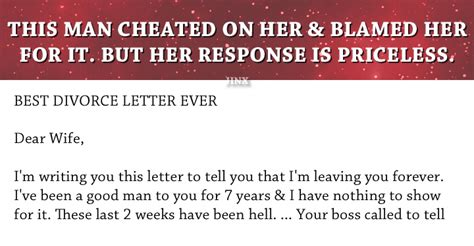 letter to my cheating husband best response to a husband this is hilarious 23227 | best response cheating husband