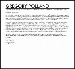 production artist cover letter sample livecareer With artist cover letter to gallery sample