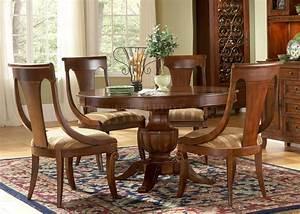 Medium, Brown, Cherry, Finish, Round, Dining, Table, W, Pedestal, Base