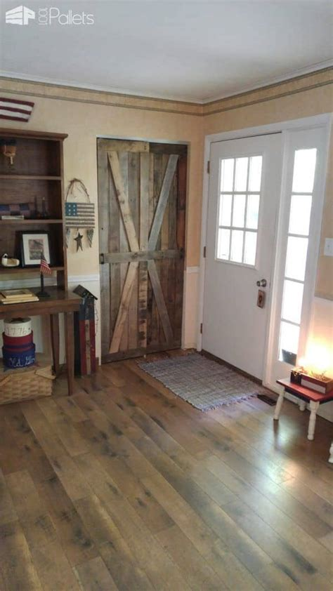 rustic sliding pallet closet door set  pallets
