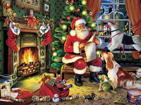 santa enters house  chimney placing secret gifts