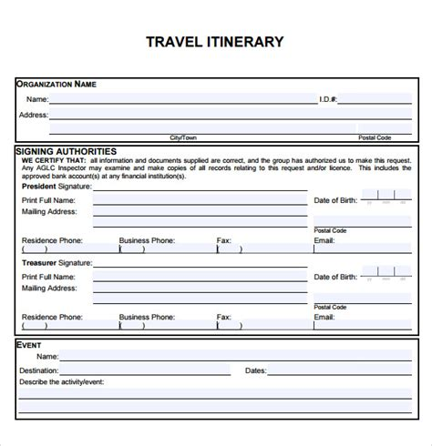 business travel itinerary template 6 sle travel itinerary templates to sle templates