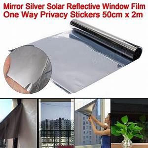 One Way Film : 50x200cm mirror silver solar reflective window film one way privacy stickers sale ~ Frokenaadalensverden.com Haus und Dekorationen