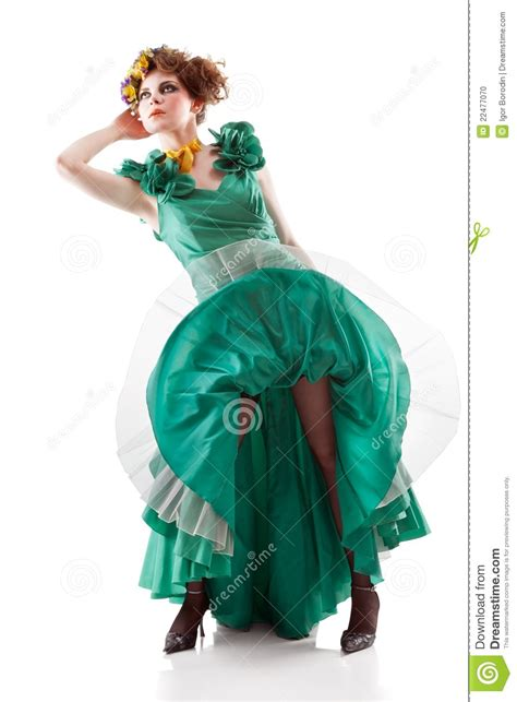 beauty woman wearing old fashioned dress royalty free