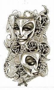 Theater mask tattoo. | Crafts | Pinterest