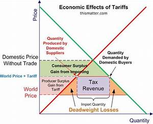 A graph showing the economic effects of tariffs, including ...