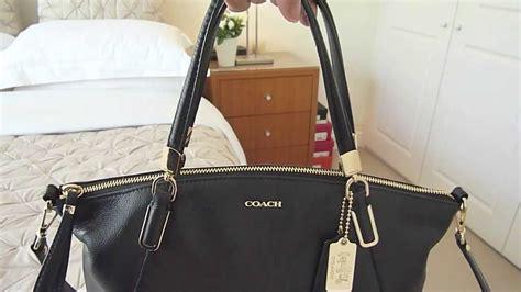 coach small kelsey satchel bag black leather handbag cross body purse youtube