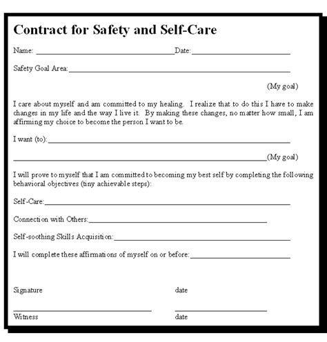 Contract For Safety Template by Addiction Safety Stabilization For The