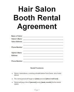 examples hair salon booth rental agreement   salon