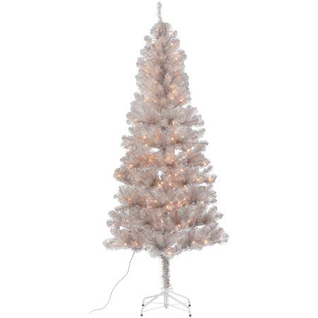 walnart 4 ft pre lit rose tinsel christmas tree time 6 5 ft tinsel gold tree 200 lights with metal tree stand walmart