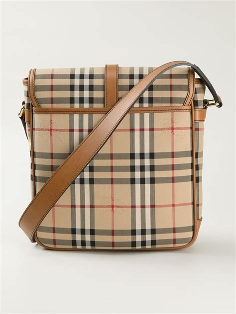 burberry leather horseferry check messenger bag  natural  men lyst
