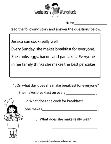 comprehension test freeeducation worksheets for second grade