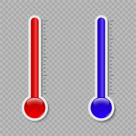 Temperature thermometer measuring heat and cold isolated ...