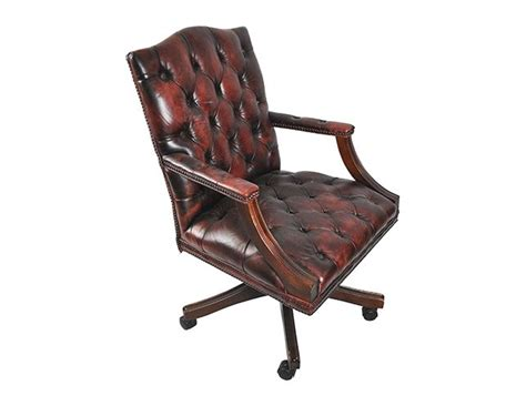 vintage leather tufted office chair the local vault