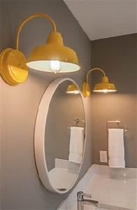 Barn wall sconces add splash of sunshine to kids39 bathroom for Barn lights for bathroom