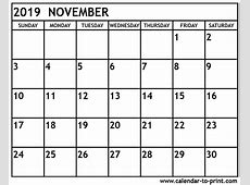 November 2019 Calendar calendar for 2019