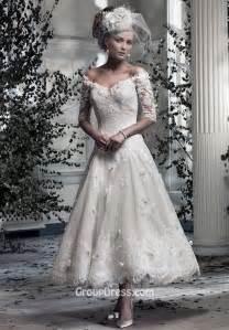 mid length dress for wedding the shoulder lace v neck tea length a line wedding dress groupdress