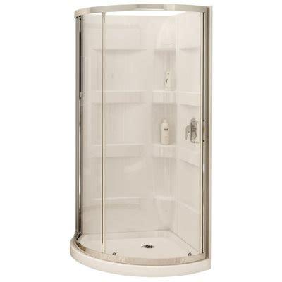 Rv Outdoor Shower Enclosure by Maax 80 In H X 34 In W X 34 In L White Round 3 Piece